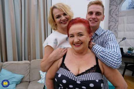 Two Mature Ladies Sharing A Young Guy In An Anal Threesome