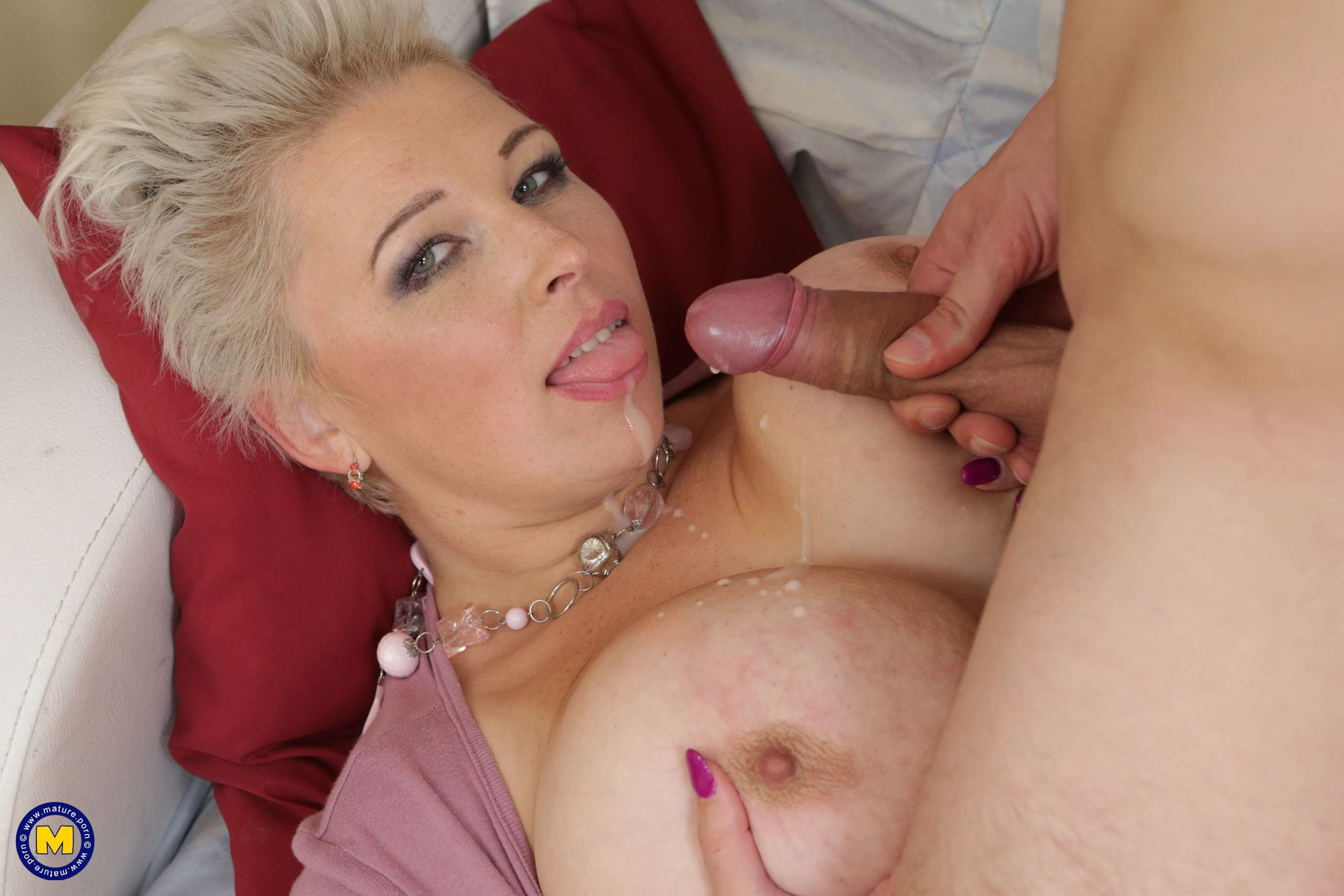 Big breasted mature slut fucking and sucking