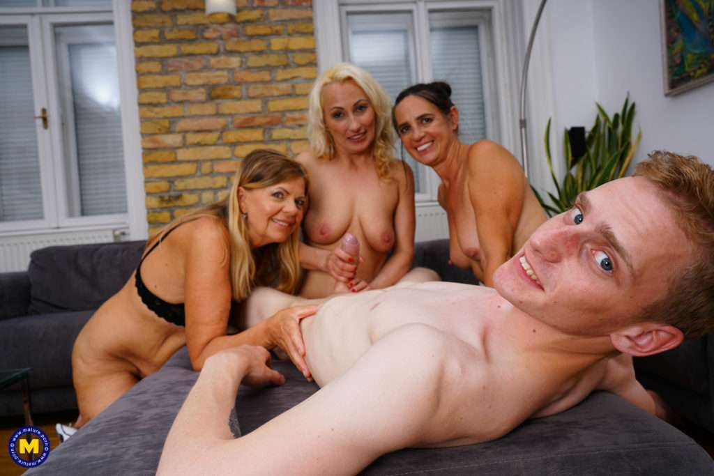 Three Mature Cougars Keep A Toy Boy Away From His Studies At Mature.nl