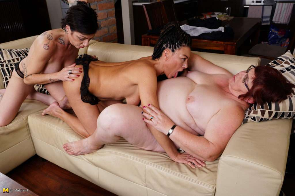 Three Naughty Housewives Playing With Eachothers Pussy