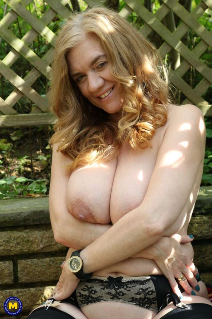 Big Breasted Housewife Gets Frisky In Her Garden At Mature.nl