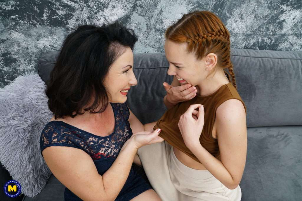 These Old And Young Lesbians Go All The Way On The Couch At Mature.nl