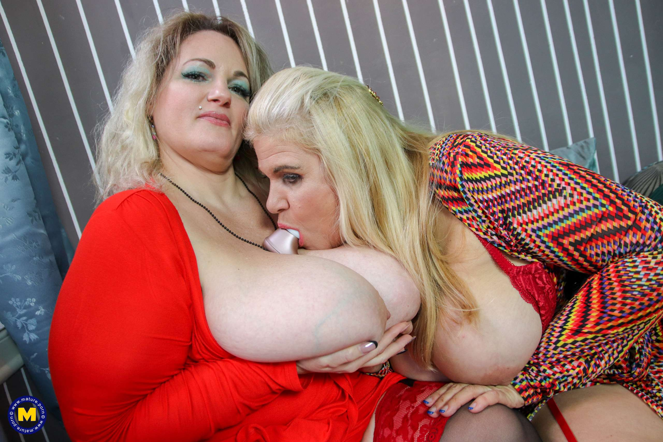 These big breasted mature ladies go lesbian after their date