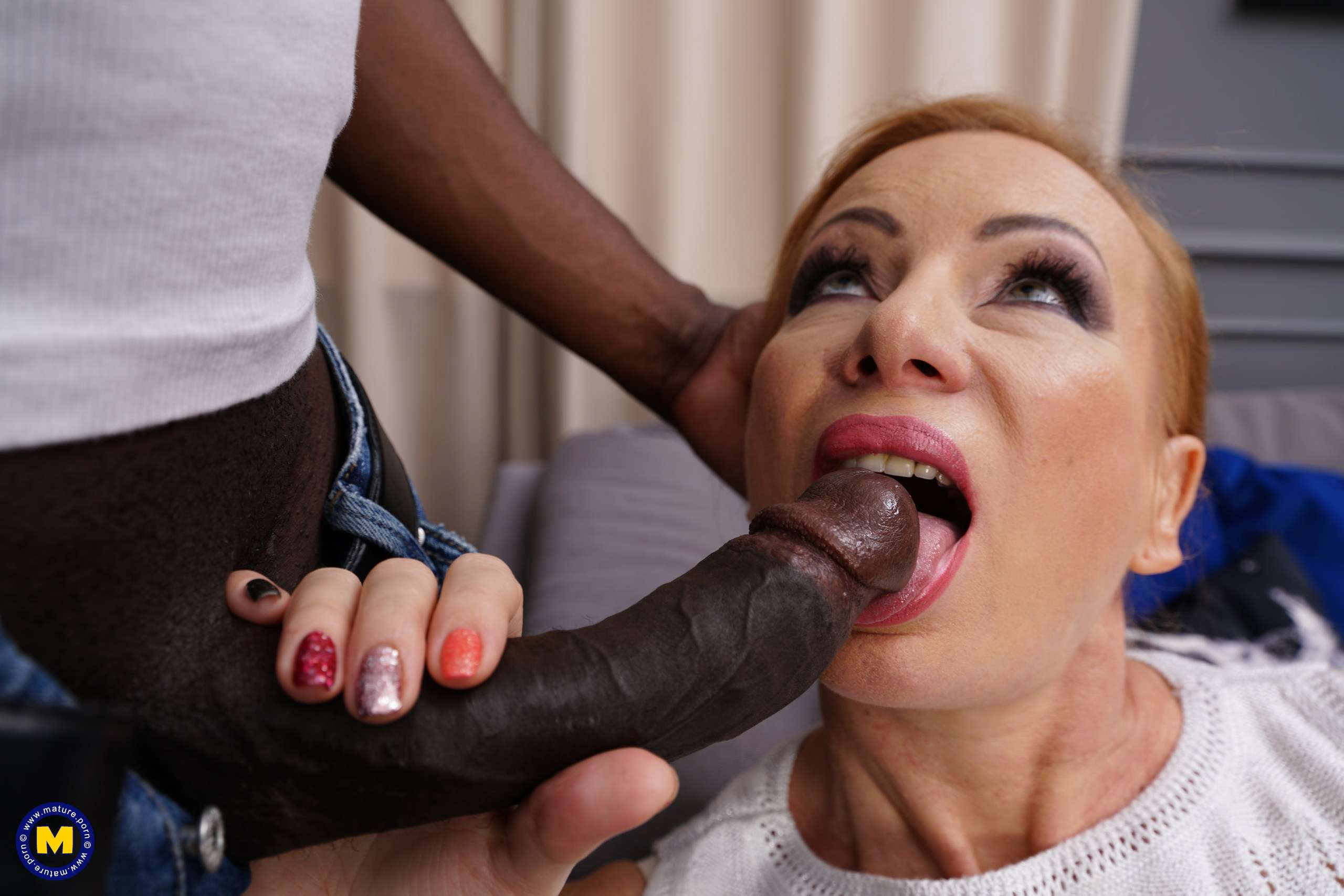 Naughty mature slut going all black