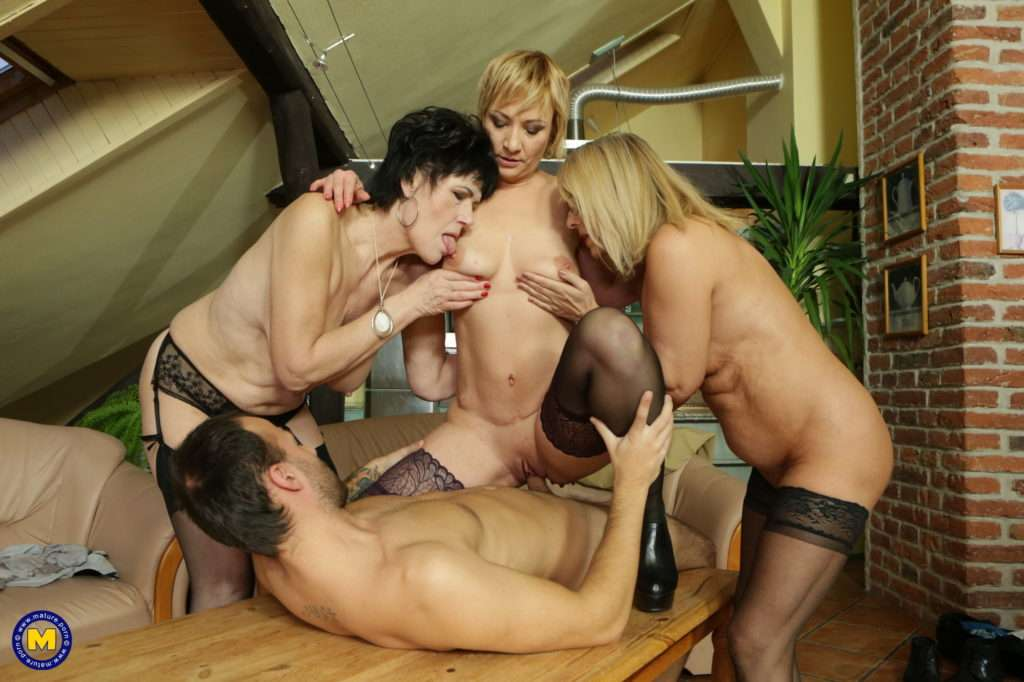 Three Mature Ladies Catching A Guy Watching Porn And Join In At Mature.nl