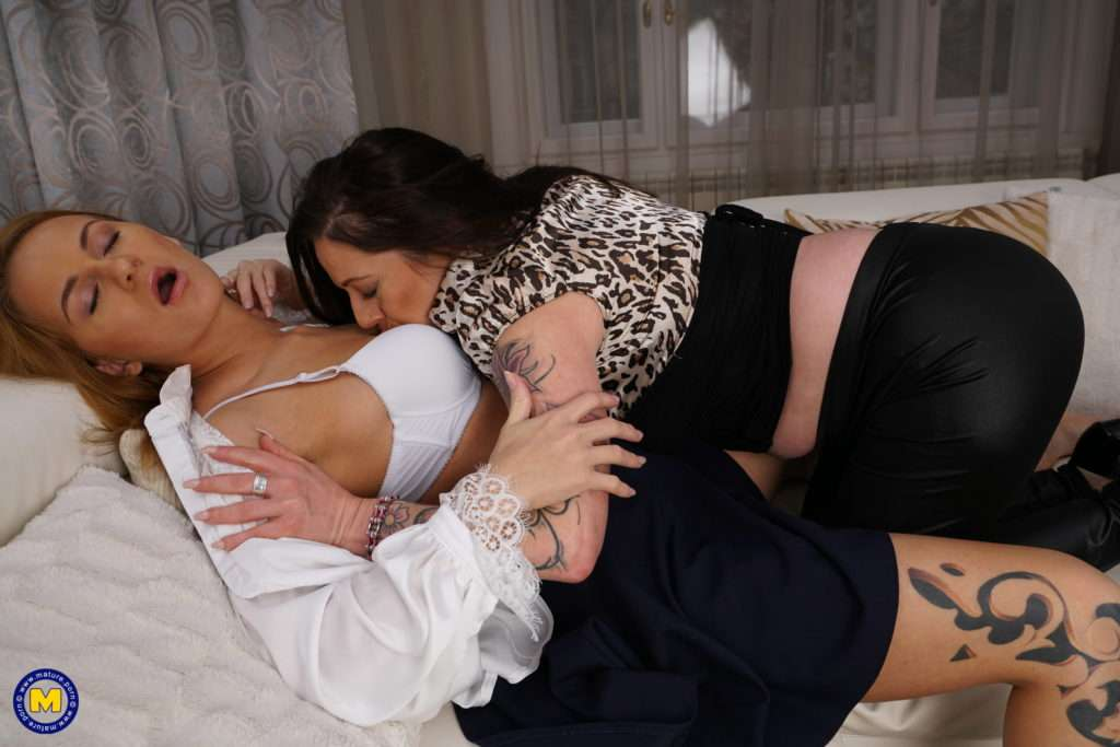 Tatooed Old And Young Lesbian Couple Fooling Around At Mature.nl