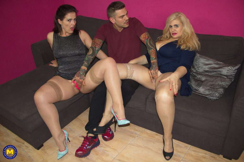Two Naughty Spanish Housewives Share One Guy At Mature.nl