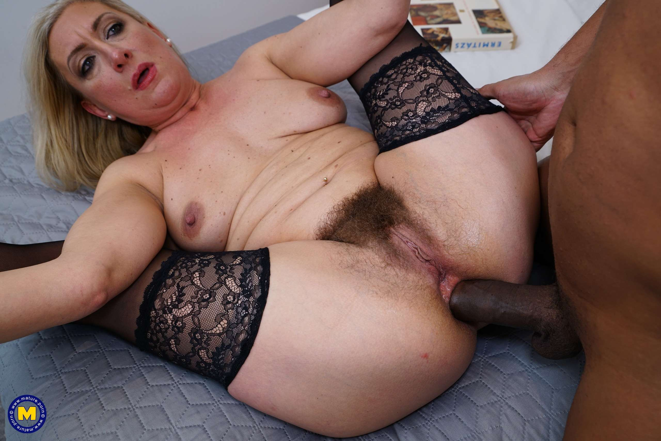 Naughty hairy cougar fucking her black lover