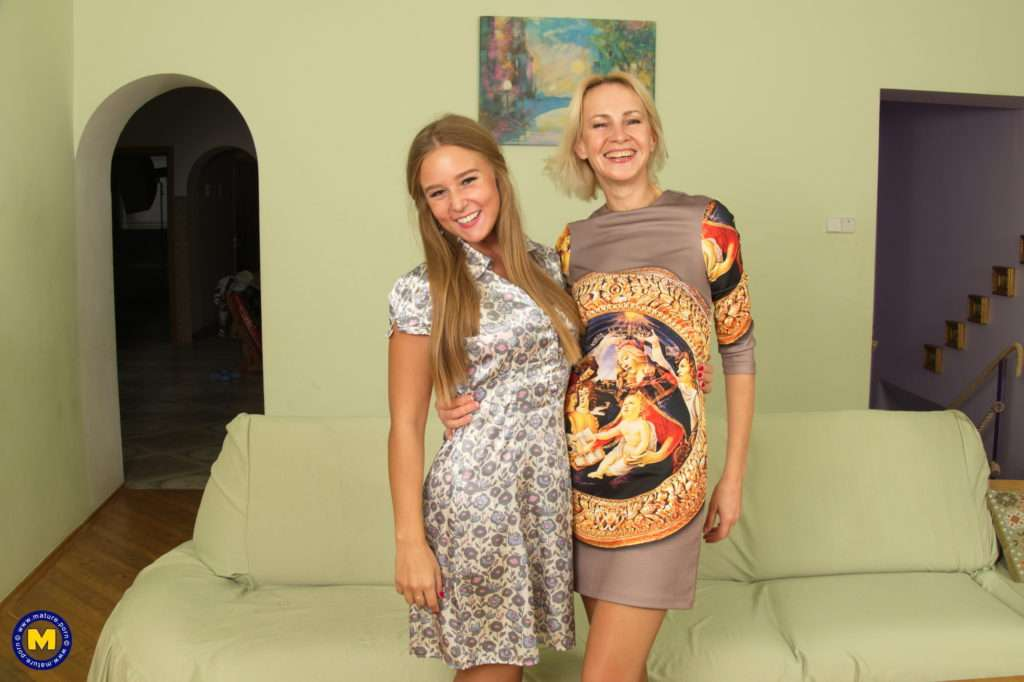 Hot Old And Young Lesbian Couple Go At It On The Couch At Mature.nl