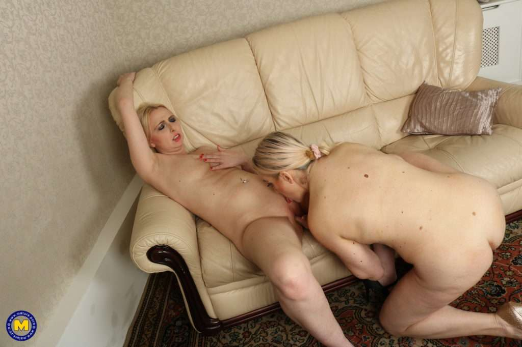 Naughty Lesbian Housewives Playing On The Couch At Mature.nl