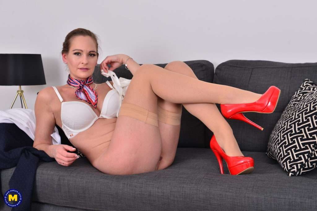 Horny Stewardess Milf Playing In Her Off Time At Mature.nl