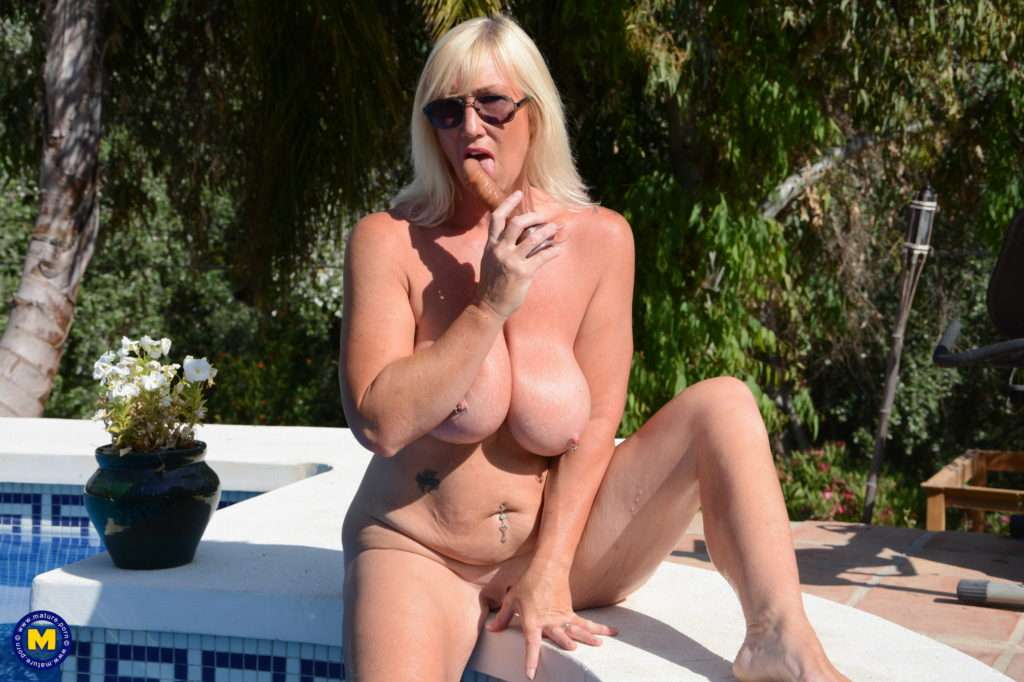 Big Breasted Melody Charm Plays With Her Pussy At The Pool At Mature.nl