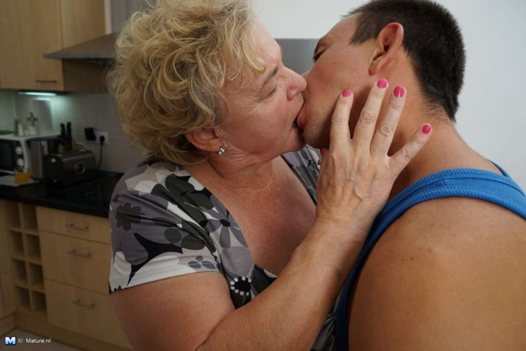 Curvy Granny Having Fun With Her Toy Boy In The Kitchen At Mature.nl