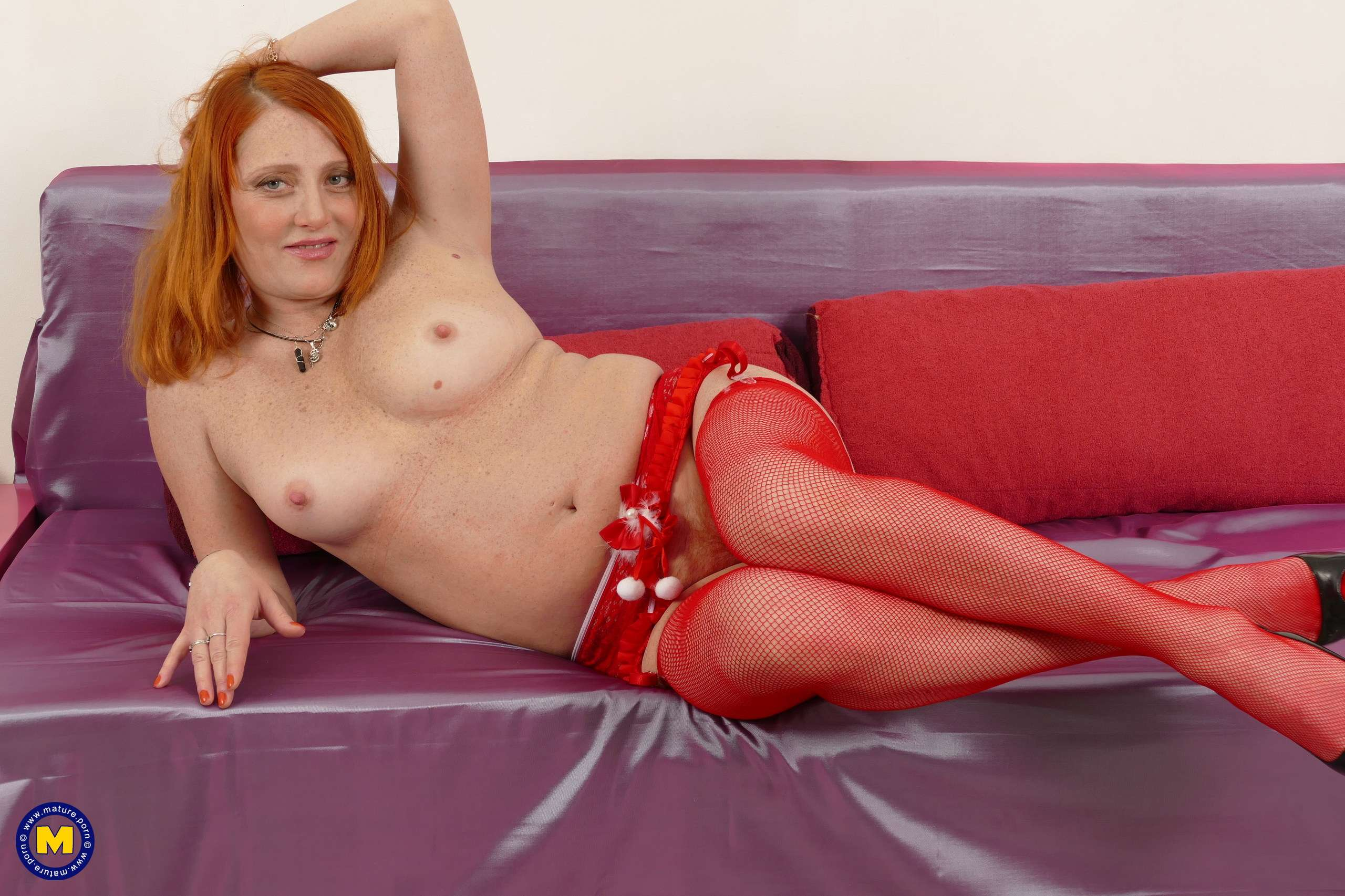 Naughty red housewife Viola playing with herself