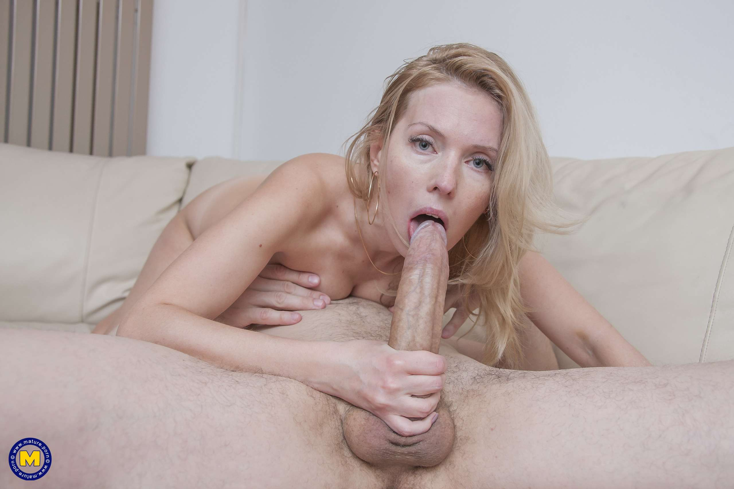 Hot blonde MILF fucking and sucking a big hard cock