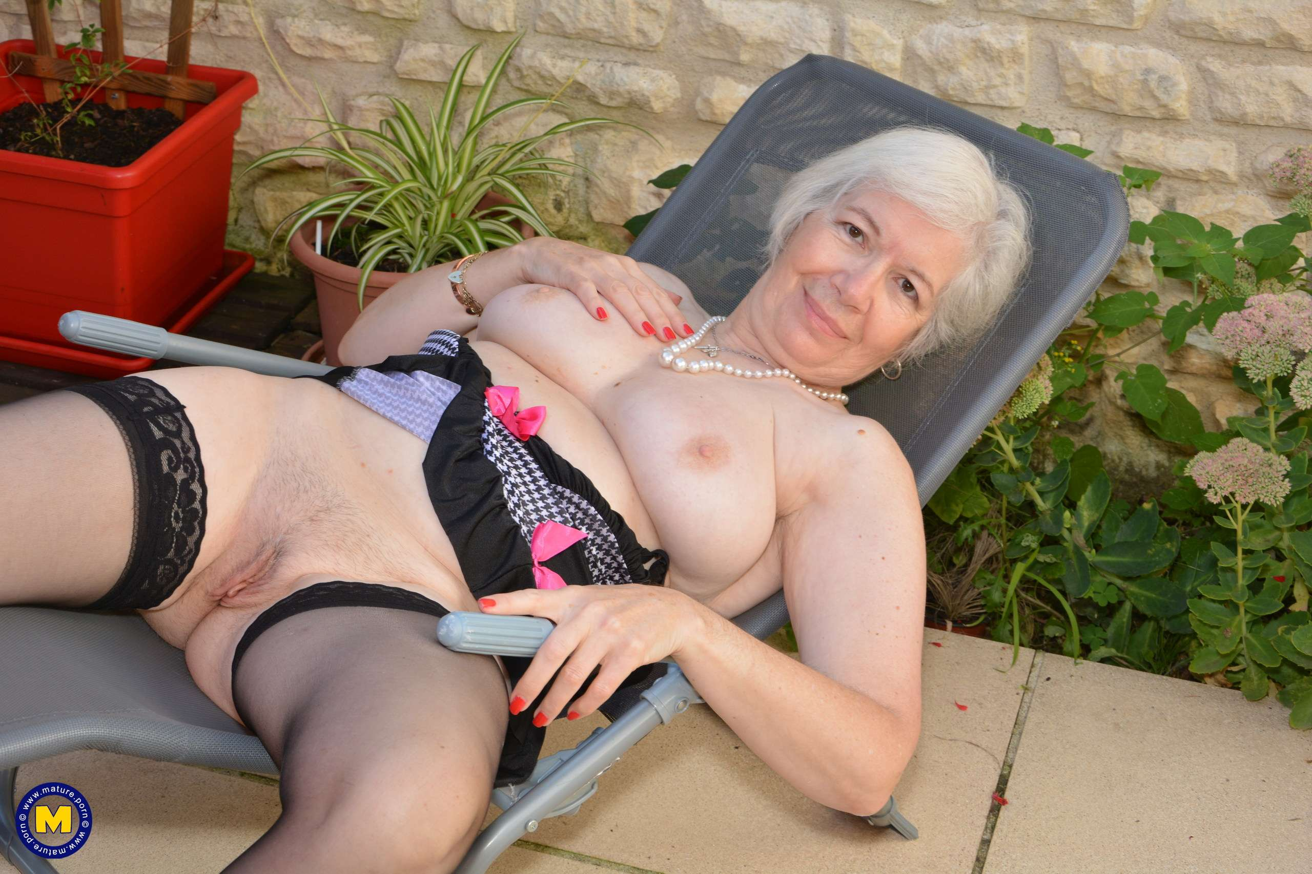 British granny masturbating in her garden