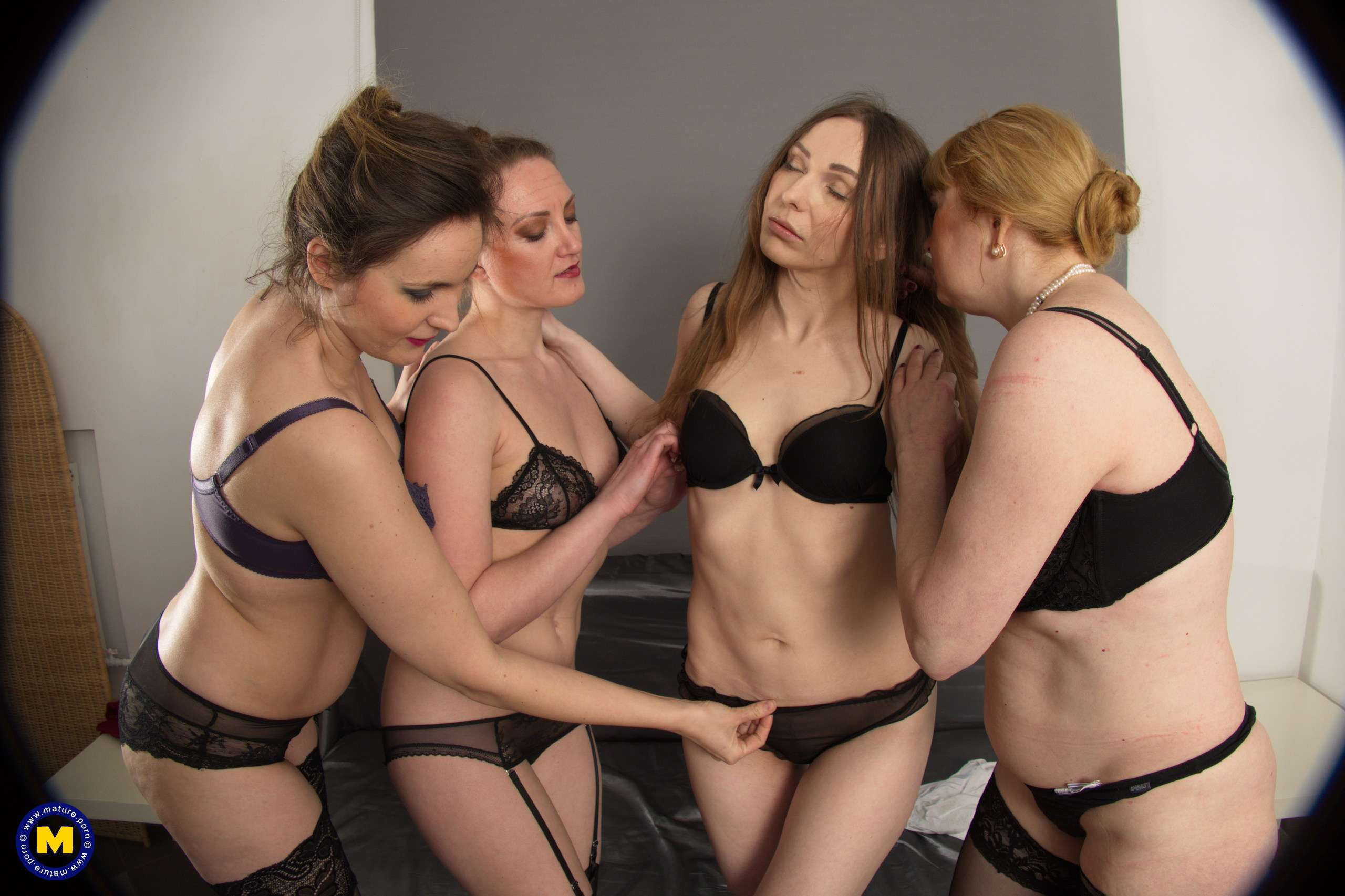 Four naughty housewives getting wet and wild