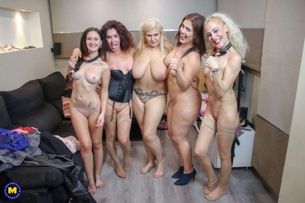 Five Old And Young Lesbians Have A Special Dildo Party At Home