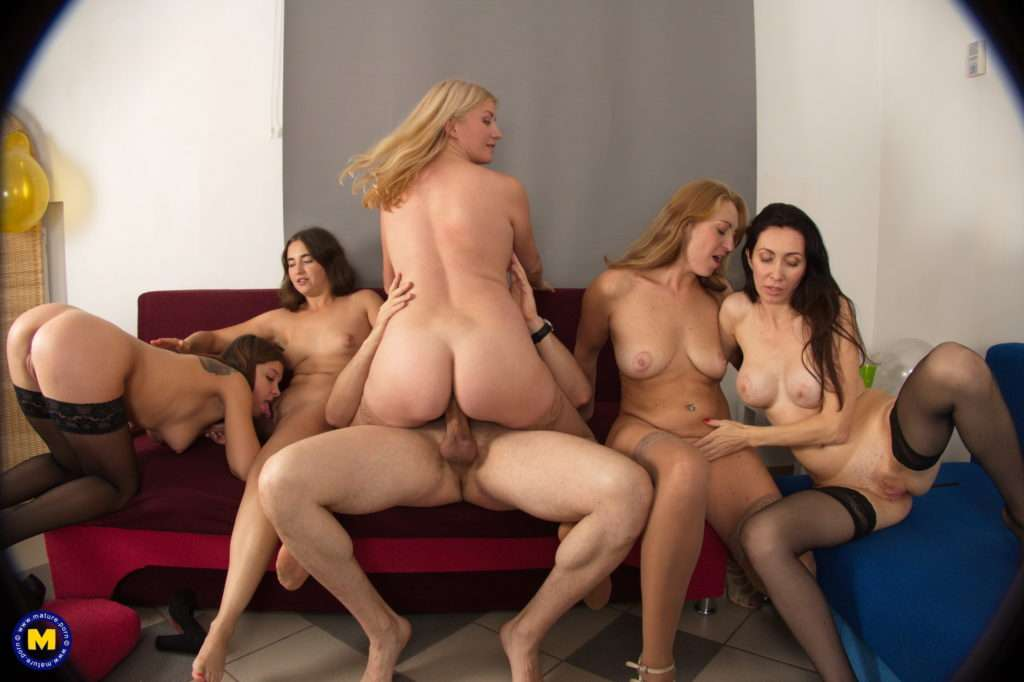 Five Old And Young Nymphos Sharing One Hard Cock At Mature.nl