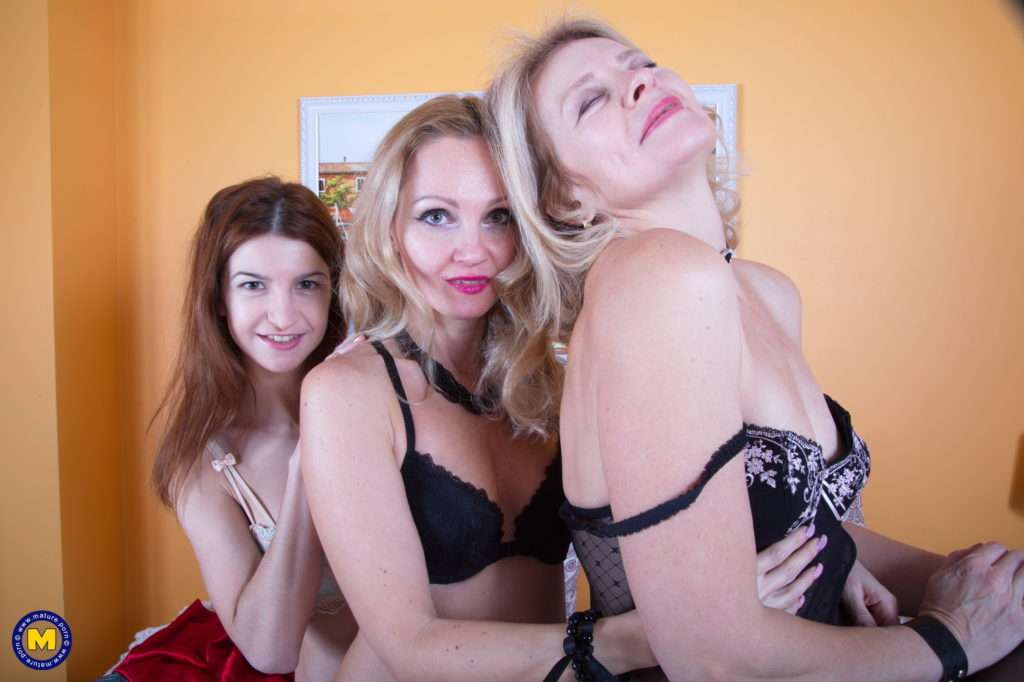 Two Milfs Play With A Hairy Lesbian Mom