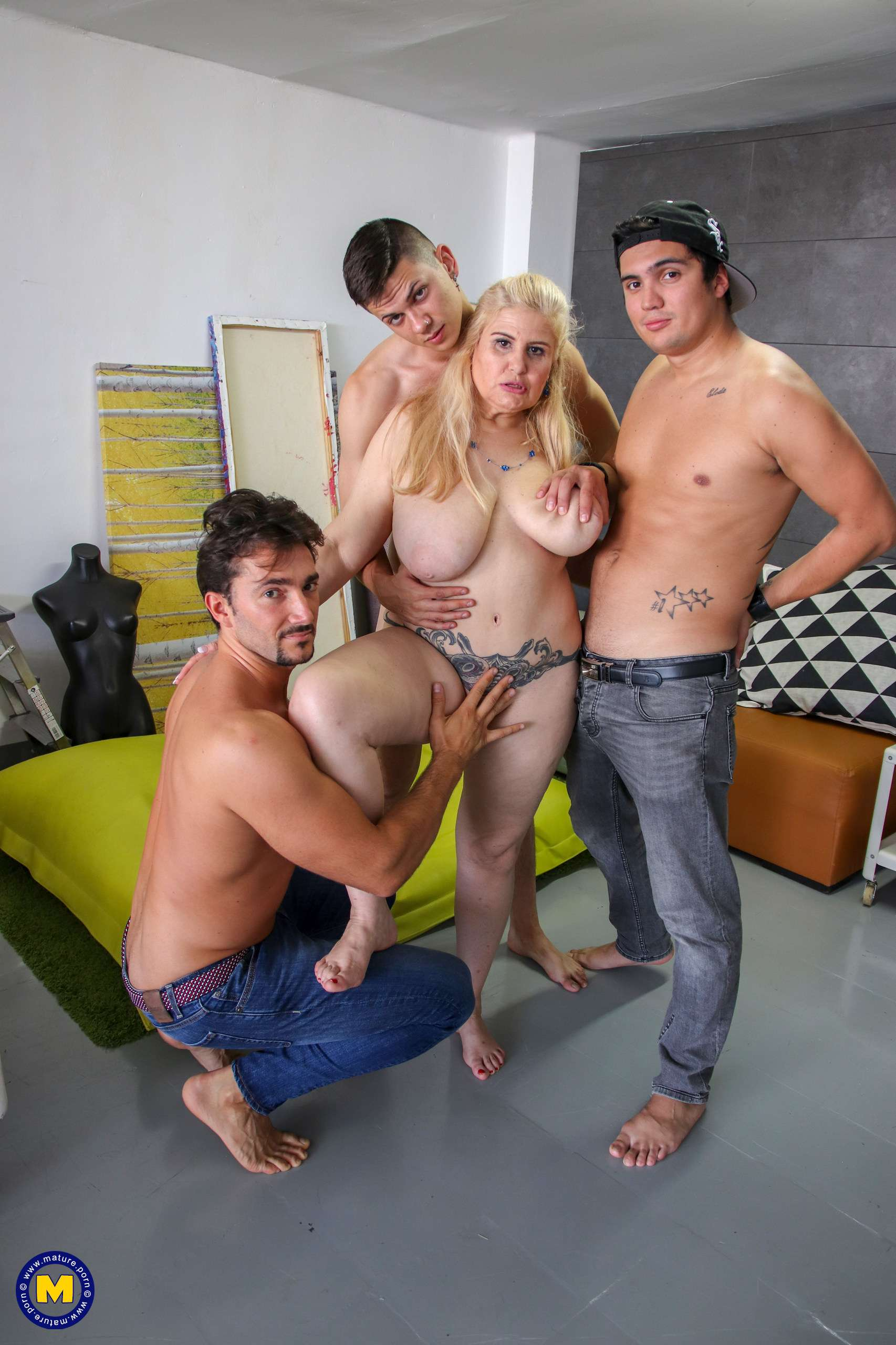 Big breasted Musa Libertina taking on three strapping young lads