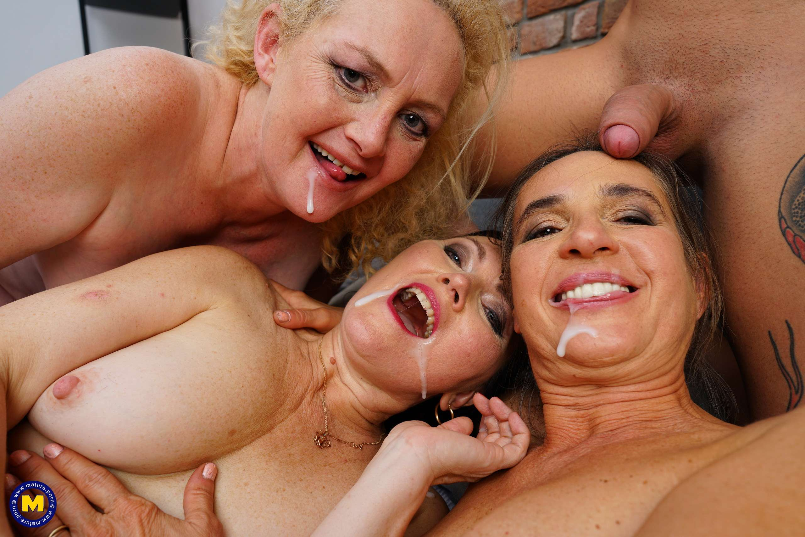 Three sluts made their friend cum hard