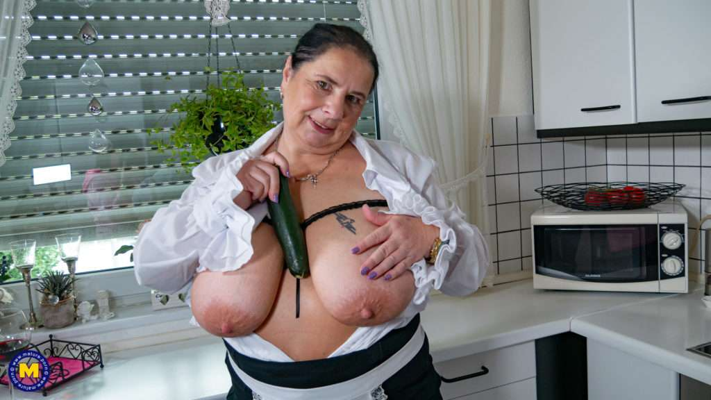 Huge Breasted Mature Slut Playing In The Kitchen