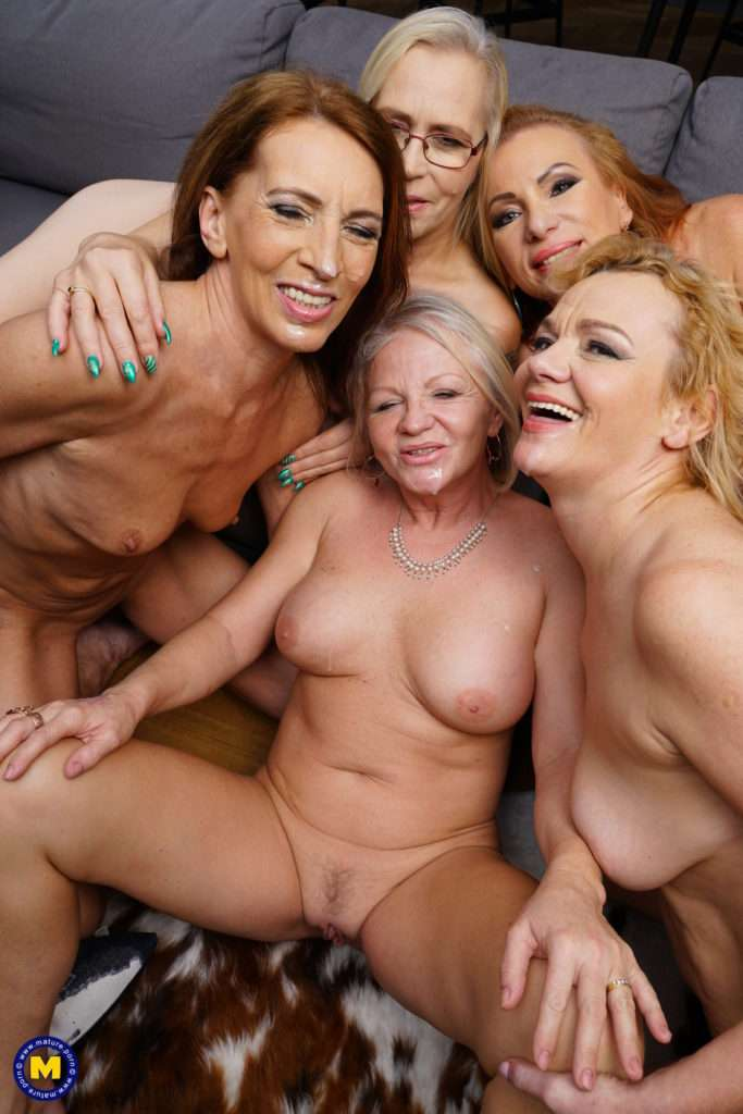 Five Naughty Mature Ladies Seducing Their Private Waiter