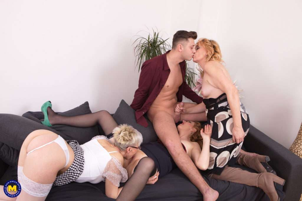 Three Mature Nymphos Sharing One Lucky Guy