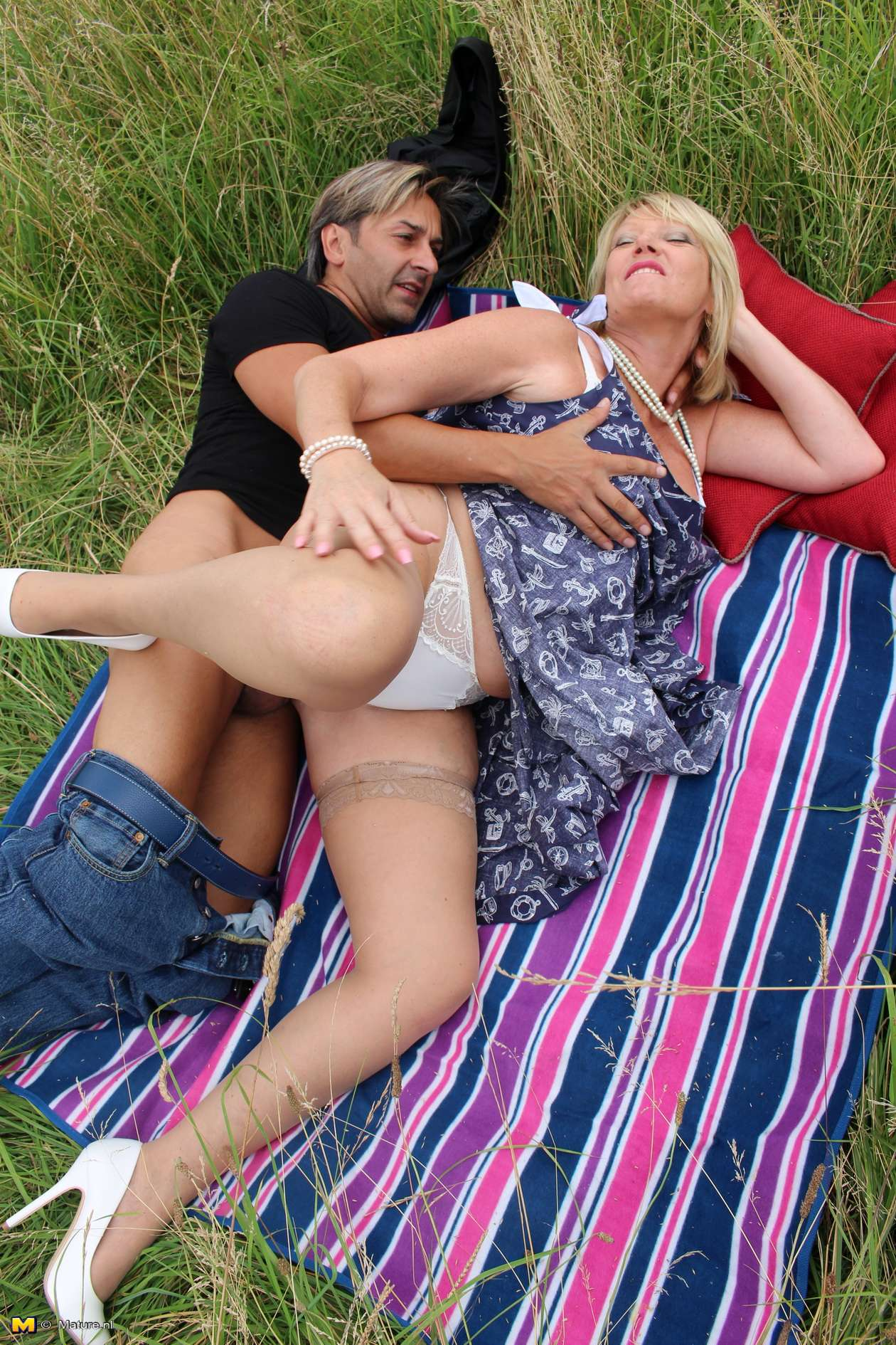 Naughty British housewife Amy fucking in an open field