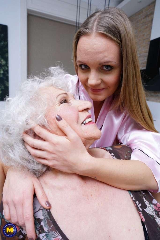 Naughty Grandma Having Fun With A Lesbian Teeny Babe