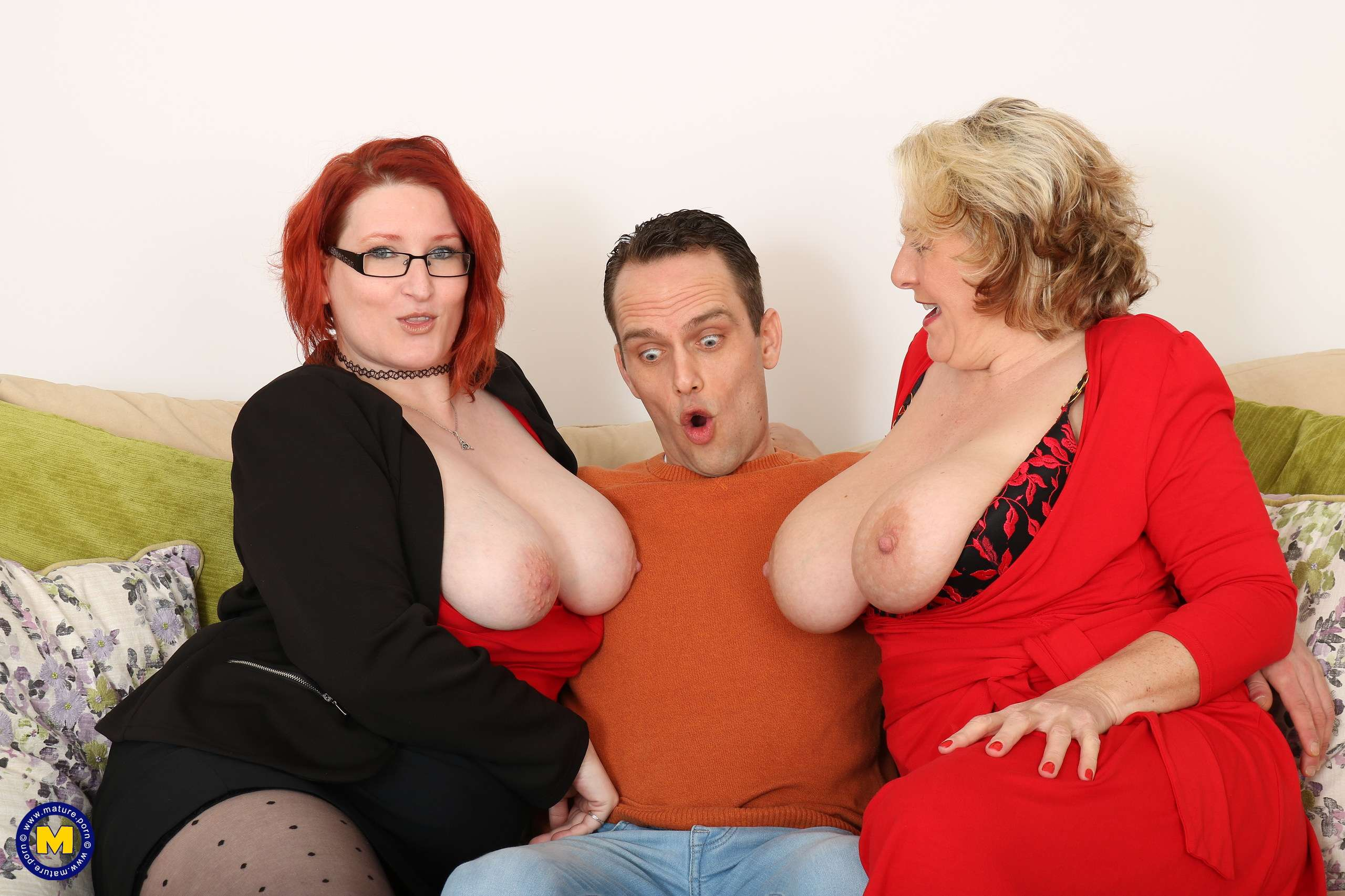 Big breasted Camilla and Rue Bourbon have a steamy threesome with one lucky guy
