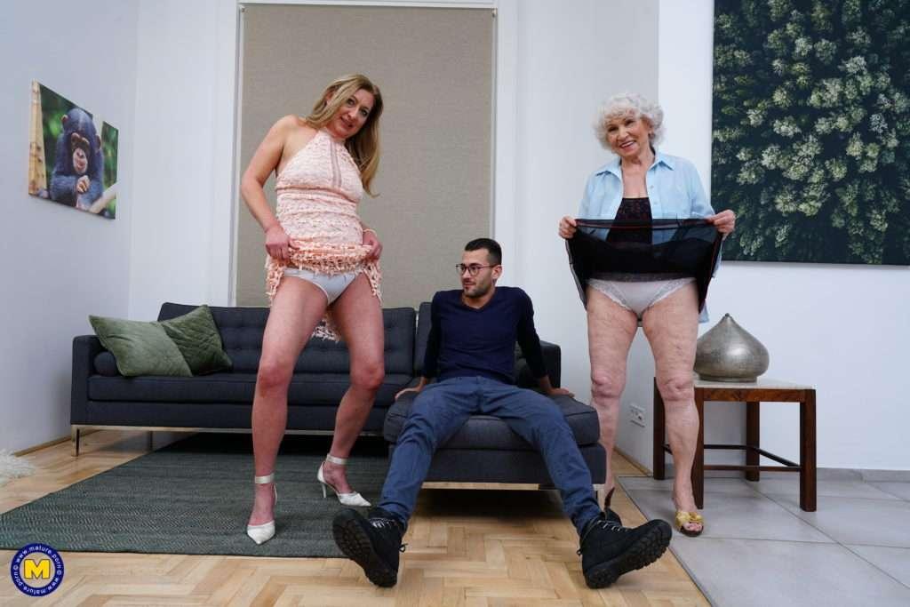 Hairy Granny And Mature Slut Share One Hard Throbbing Cock