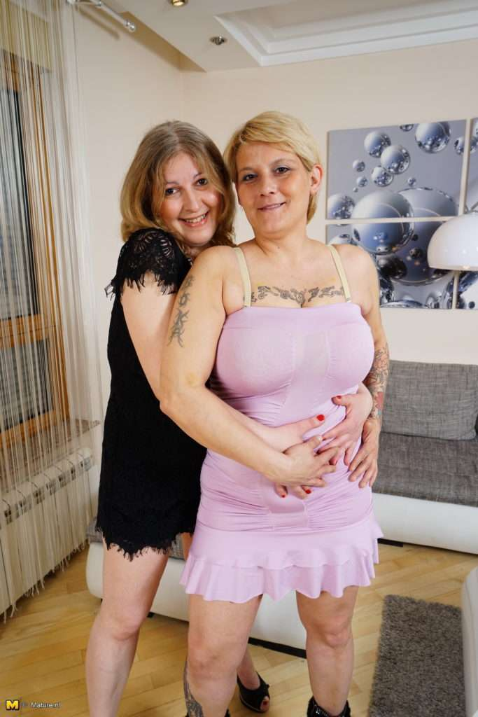 Two Curby Mature Ladies Getting Wet And Wild In The Livingroom